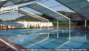21 SHELTER Covered Swimming Pool - Metal Pool Canopy - Pool Enclosure