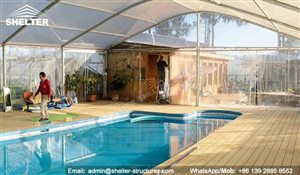 33 SHELTER Arch Tent - Covered Swimming Pool Enclosures - Pool Shed - Pool with Canopy