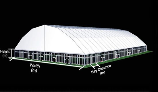64 SHELTER Polygonal Tent - Indoor Tennis Courts Installation - Indoor Tennis Club 60 x 100m