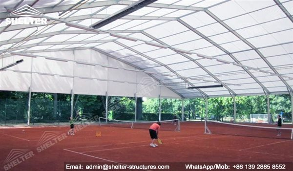 66 shelter polygonal tent indoor tennis courts for Indoor basketball court installation
