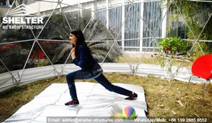 SHELTER Yoga Dome - Geodesic Dome Fitness Center - Transparent Geodome in Backyard