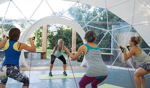 96 SHELTER Geodesic Dome Tent - Dome Fitness Center - Yoga Dome
