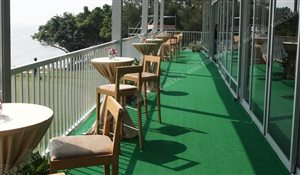 Balcony Handrail of two story sport lounge - golf tent with carpet