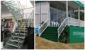 interior and exterior stair case of sport lounge - clear span aluminum golf tent