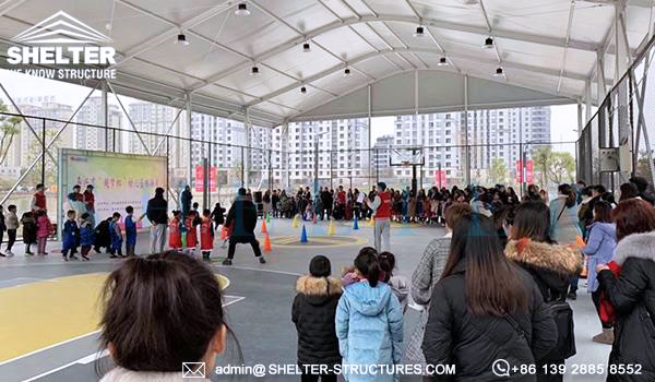 Shelter customized basketball court for sale - basketball court canopy with curved roof - arch sports structures supplier -3